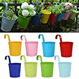 Flower Pots,RIOGOO Garden Pots Hanging Buckets Hanging Planter,Metal Flower Pots Plant Pots Home Decor - Detachable Hook (8 PCS)