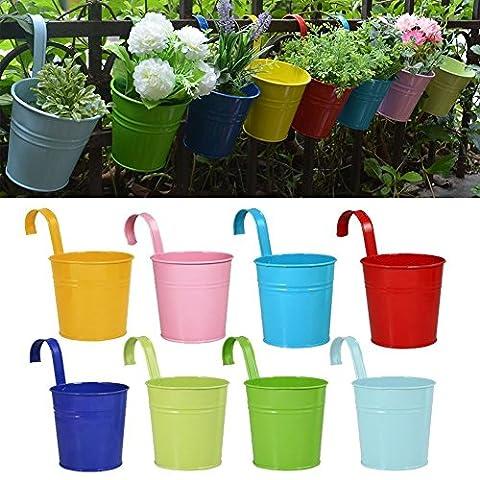 Flower Pots,RIOGOO Garden Pots Hanging Buckets Hanging Planter,Metal Flower Pots Plant Pots Home Decor - Detachable Hook (8 PCS)