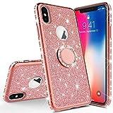 Homikon Silikon Hülle Kompatibel mit iPhone XS Max Überzug TPU Bling Glitzer Strass Diamant Schutzhülle mit 360 Grad Ring Ständer Soft Flex Durchsichtig Silikon Handyhülle Tasche Case - Rose Gold