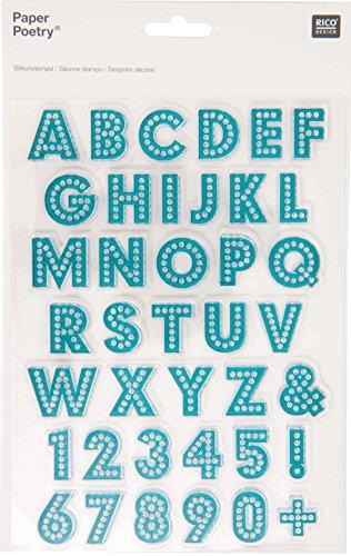 Rico Design Silikon-Sticker, Alphabet und Zahlen, klein, Petrolblau (29-designs Alphabet)