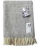 Extralange creme-graue Streifen Wolldecke aus 100% naturbelasssener skandinavischer Schurwolle, ca 240x140cm mit Fransen, 1100g