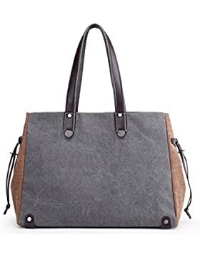 LOSMILE Damen Handtasche, Canvas Shopper Tasche Vintage Henkeltasche Damen Umhängetasche für Schule Reisen Arbeit...