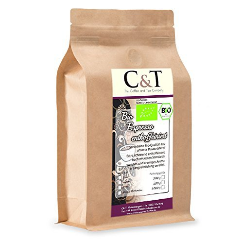 C&T Bio Espresso Crema | Cafe entkoffeiniert 100 % Arabica 1000 g entkoffeinierter Kaffee gemahlen im Kraftpapierbeutel