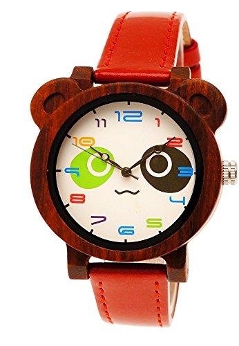 Hübsche Holzwerk Germany® Panda Kinder-Uhr Mädchen-Uhr Öko Natur Holz-Uhr Leder Armband-Uhr Analog Quarz-Uhr in Rot
