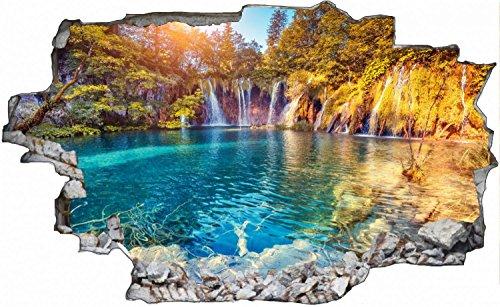 Wasserfall Natur Wald See Landschaft Wandtattoo Wandsticker Wandaufkleber C0631 Größe 70 cm x 110 cm