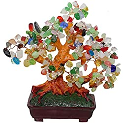 GMMH Feng Shui Glücksbaum 25 cm Geldbaum Bonsai Pfennigbaum Handarbeit Stein bunt