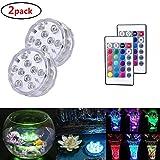 Unterwasser Licht 10-LED RGB 16 Farbwechsel LED Leuchten für Vase Base,Aquarium,Teich,Party,Schwimmbad,1 Stück whirlpool zubehör (2 PACK)
