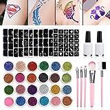 Tatouage Paillette, Tatouages Temporaires Maquillage, Luckyfine Set de Maquillage Peintures pour Body Art -24 x Poudre Scintillante+125 Pochoir Creux +2 Colle Scintillante + 5Pinceaux