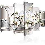 Cuadro de orquídeas (impresión de pared compuesta por 5 piezas, diseño de flores blancas,...