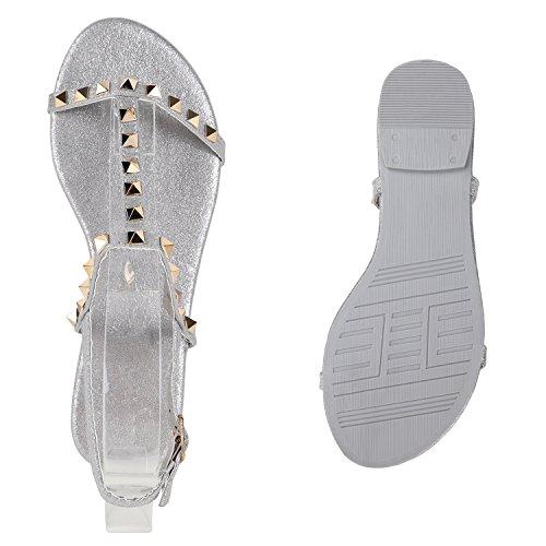 Damen Sandalen Flats Nieten Glitzer Riemchensandalen Extravagante Party Schuhe Hochzeit Abiball Silber