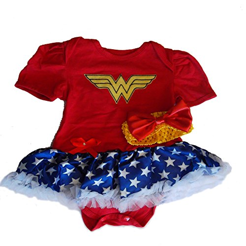 Wonder Woman Baby Toddler Girl Romper Party Costume. Ages 9-12 Months