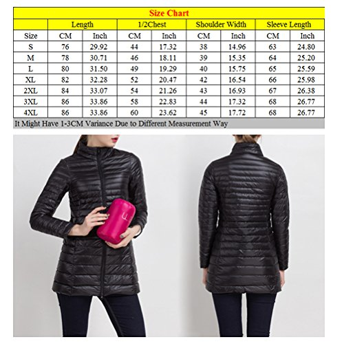 Zhhlaixing Frau Thickened Winter Warm Down Jacket Coat Long Sections with Stand Collar Rose Red
