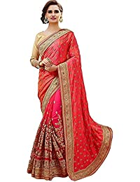 SareeShop Women's Georgette & Silk & Net Saree For Women Latest Design 2018 With Blouse Piece (SarojPink-SAREESHOP15...