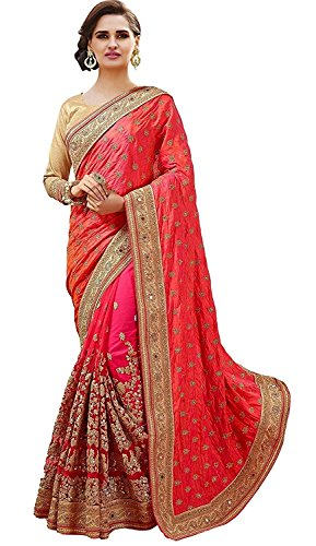 SareeShop Women\'s Georgette & Silk & Net saree for women latest design 2018 with Blouse Piece (SarojPink-SAREESHOP15# Pink # Free Size)