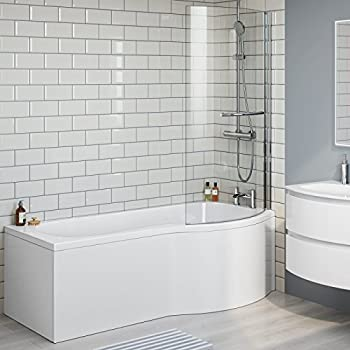 1700 Mm Right Hand P Shaped Bath Luxury Bathtub With Shower Screen Panel BL226