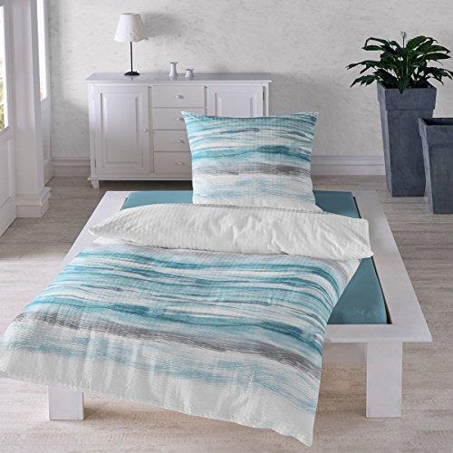 Traumschlaf Seersucker Bettwäsche Wellen 1 Bettbezug 135x200 cm + 1 Kissenbezug 80x80 cm