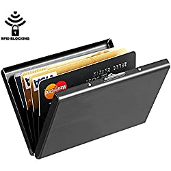 SNDIA Elegant RFID Blocking Card Holder, Stainless Steel Slim Credit / Debit / Business Card Holder Wallet Sleek Case For Men And Women-Black