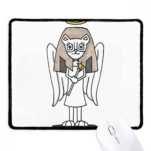 DIYthinker Engel Bastet Flügel Halo Stern Griffige Mousepad Spiel Büro Schwarz Titched Kanten Geschenk