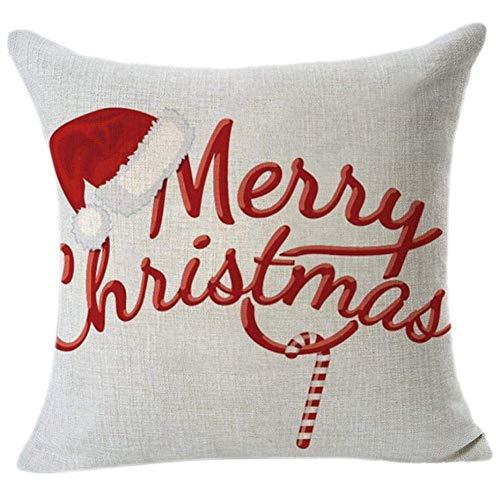 SODIAL Vintage Bedruckte Weihnachten Sofa Bett Nach Hause Kaffee Dekoration Kissenbezug Platz Kissenbezug Baumwolle Leinen Unsichtbare Reissverschluss (45 cm x 45 cm) (J#)