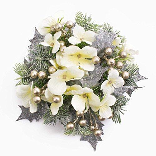 Corona con hortensias y bayas artificiales, nevado, crema -dorado, Ø 15 cm - decoración mesa / adornos - artplants