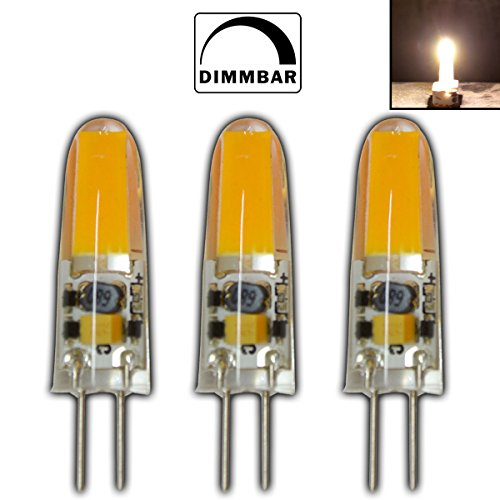 3x Stück - G4 mini LED 2 Watt 12V AC/DC warmweiß aus Silikon (Silica Gel) Lampe Leuchte Leuchtmittel dimmbar Halogenersatz (Spot 20w Grad 12)