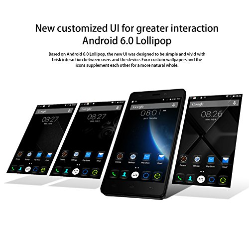 Smartphone Libre  DOOGEE X5 Teléfonos Móviles Libres sin Bloqueo de SIM Baratos (5 Pantalla HD IPS  MT6580 Quad Core  5MP Cámara  8GB ROM  Android 6.0  Bluetooth 4.0  GPS Xender  3G Dual SIM Móvil)   Negro
