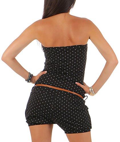 malito Damen Einteiler mit Anker Print | kurzer Overall schulterfrei | Jumpsuit mit Gürtel