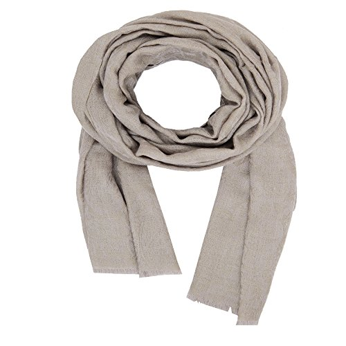KASHFAB Kashmir Frauen Herren Winter Mode Jacquard Schal, Wolle Seide stole, Weich Lange Schal, Warm Paschmina Olive Grün Beige (Gemalt Streifen Herren)