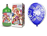 Ballongas Gasflasche 1,2 + 12 Flying Ballons 50 Geburtstag 50 Jahre
