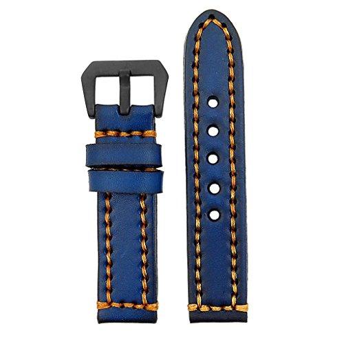 strapsco-18-mm-Vintage-Dickes-Leder-Armbanduhr-Band-in-blau-mit-schweren-Pflicht-orangestitching-und-matt-schwarz-Pre-V-Schnalle