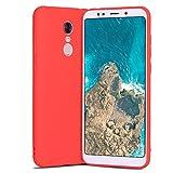 Caler Case Xiaomi Redmi 5 Plus Funda con Absorción de Choque Flexible y Duradera con Carbono Fibra Diseño para Xiaomi Redmi 5 Plus Silicona Fundas Caso Carcasas Protectora (Rojo)