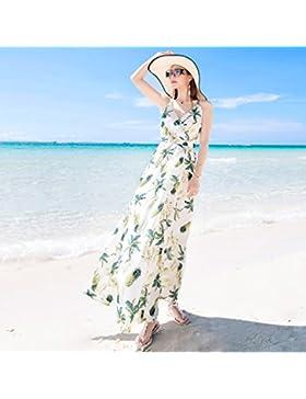 Meng Wei Shop Summer Beach Holiday Beach Dress Vestido Halter Vestido bohemio Vestidos de verano (Size : M)