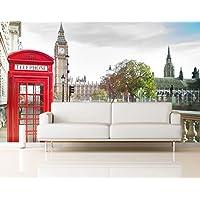 Fotomural Vinilo Pared Cabina Teléfonos y Big Ben Londres | Fotomurales pared | Fotomural Decorativo | Vinilo Decorativo | Varias Medidas 350 x 250 cm | Decoración comedores salones | Motivos Paisajisticos