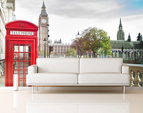 Fotomural Vinilo Pared Cabina Teléfonos y Big Ben Londres | Fotomurales pared | Fotomural Decorativo | Vinilo Decorativo | Varias Medidas 200 x 150 cm | Decoración comedores salones | Motivos Paisajisticos