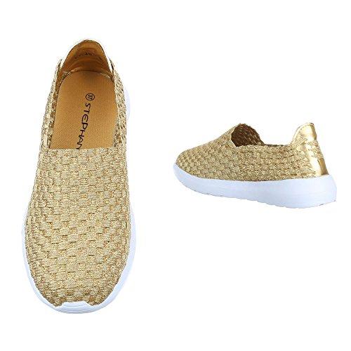 Slipper Damen Schuhe Low-Top Leichte Ital-Design Halbschuhe Gold LT-48