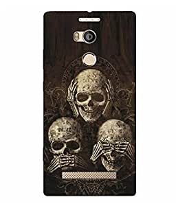 Case Cover Skull Printed Logo Cut Brown Hard Back Cover For Gionee ELife E8