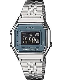 Casio Casio Collection LA680WEA-2BEF - Reloj digital de cuarzo para mujer, correa de acero inoxidable color plateado (luz, alarma, cronómetro)