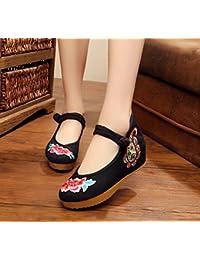 DESY Peony ricamato scarpe, suola tendine, stile etnico, femminile caduta di vibrazione, modo, comodo, sandali , blu , 37