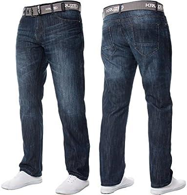 NUEVO kruze Hombre pernera recta Fit De Marca Vaqueros Denim de diseño Pantalones Todas las CINTURAS Efecto Mármol