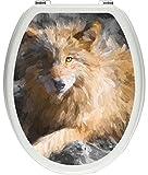 Pixxprint 3D_WCs_3907_32x40 aufschauender maiestätischer Wolf ALS Toilettendeckel Aufkleber, WC, Klodeckel, gläzendes Material, schwarz/weiß, 40 x 32 cm
