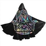 Mantello da Mantello per Adulti Illuminati Fatima Hamsa Occhio Che Tutto Vede Halloween Mantelli con Cappuccio Costumi Cosplay Cappe da Sera Robe Witch Party Mantello con Cappuccio