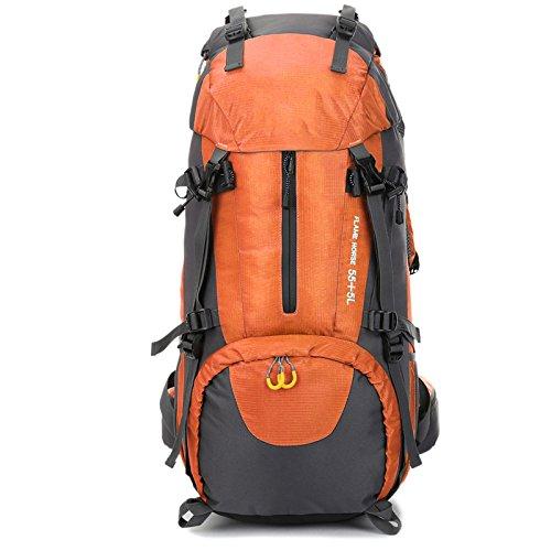 Johnson Rucksack Outdoor Klettern Tasche Schultern Männer und Frauen 60L Große Kapazität Rucksack Nylon Wasserdichte Reisetasche,Orange