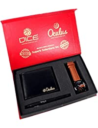 Dice DC-WWP-13 Watch - Oculus Wallet - Oculus Pen Combo Gift Pack Consist of Stainless Steel Multi Colour dial for Men's Watch, Black Wallet and Metal Pen.