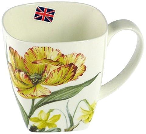 Home Oxford Rose Felicity Mug, Bone China, Blanc/Jaune, 6 Pièces