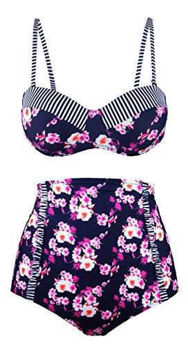 Angerella traje de baño para mujer Bikini Vintage cintura alta (BKI036-N1-4XL)