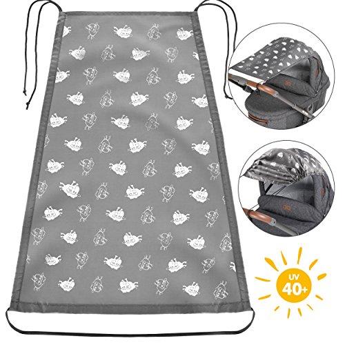 Zamboo Toldo / Protección solar universal para cochecitos, capazos y sillas de paseo | Parasol flexible con protección UV 50+ y función de persiana enrollable - Ovejas gris