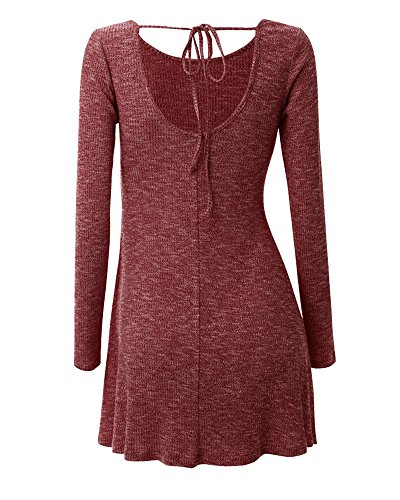 Junshan Robe Femme Top à Manches Longues Tunique Casual Oversize Robe Mode Femme Robe Printemps Real Dress Tricot Robe Vin rouge