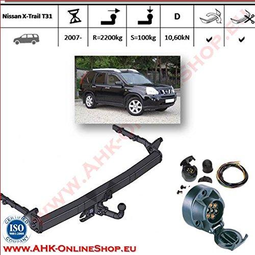 ATTELAGE avec faisceau 7 broches   Nissan X-Trail T31 de 2007- / crochet «col de cygne» démontable avec outils