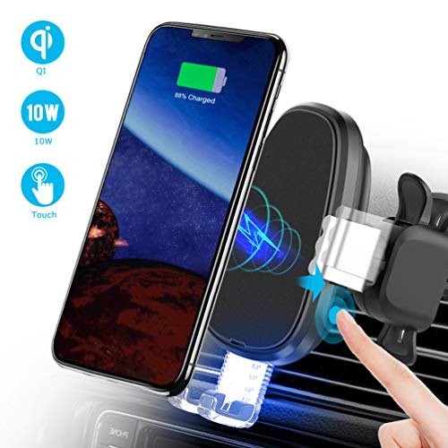allcaca Qi Caricatore Wireless Auto, 10W/7.5W/5W Ricarica Rapida Caricabatterie Qi Wireless Auto, Compatibile con IphoneXS XPlus X 8P 8, Samsung Galaxy S9 S8 S7 S6, Huawei Mate, Xiaomi 2S, Nero