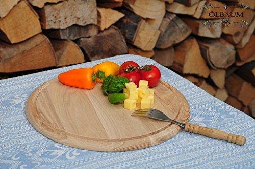 1 Picknick Pizzabrett, Flammkuchen Servierbrett, Holzbrett rund, PREMIUM-QUALITÄT, groß Holz,mit umlaufender Rille - Ölrille / Saftrille -, je ca. 28 cm, als Bruschetta-Pita-Döner-Naan-Roti-Ciabatta-Langos-Chubz-Servierbretter, Picknick-Schneidebrett Picknick-Schneidebrettchen, Picknickbrettchen,Anrichtebretter, Brotzeitbretter, Steakteller schinkenbrett rustikal, Schinkenteller von BTV